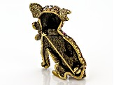 Multicolor Crystal Antiqued Gold Tone Chihuahua Dog Brooch