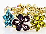 Multicolor Crystal Gold Tone Floral Statement Bracelet