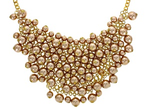 Pink Pearl Simulant Gold Tone Statement Necklace