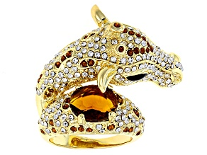 Multicolor Crystal Gold Tone Giraffe Ring