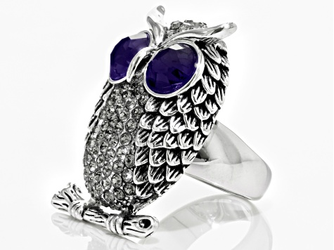 Purple And Gray Crystal Antiqued Silver Tone Owl Ring