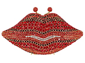 Red And White Crystal Gold Tone Lip Clutch