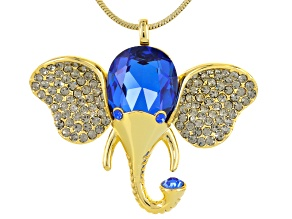 Blue And Gray Crystal Gold Tone Elephant Pendant With Chain