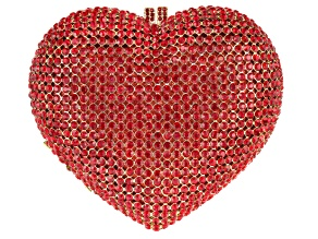 Red Crystal Gold Tone Heart Clutch
