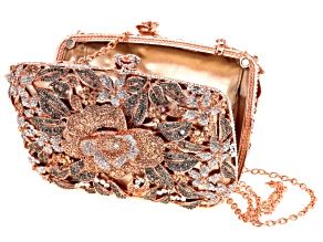 Multicolor Crystal Rose Tone Floral Clutch