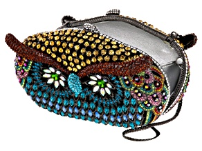 Multicolor Crystal Gunmetal Tone Owl Clutch