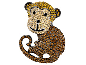 Multicolor Crystal Gunmetal Tone Monkey Brooch