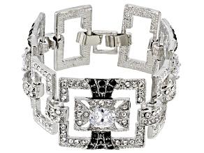 Black And White Crystal Silver Tone Art Deco Bracelet