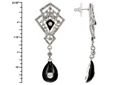 White Crystal Black Enamel Silver Tone Art Deco Dangle Earrings