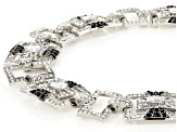 Black And White Crystal Silver Tone Art Deco Necklace And Earring Set