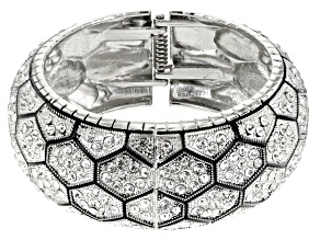 White Crystal Silver Tone Bangle Bracelet