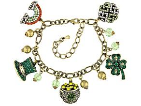 Multicolor Crystal Antiqued Gold Tone Saint Patrick's Day Charm Bracelet