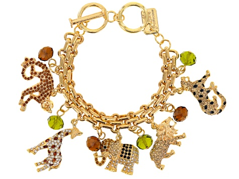 Multicolor Crystal Gold Tone Safari Charm Bracelet