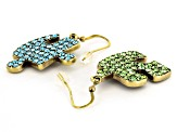 Multicolor Crystal Antiqued Gold Tone Puzzle Piece Dangle Earrings