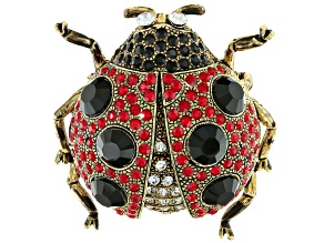 Multicolor Swarovski Elements ™ Antiqued Gold Tone Lady Bug Brooch