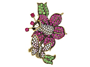 Multicolor Crystal Antiqued Gold Tone Flower Brooch