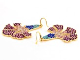 Multicolor Crystal Gold Tone Floral Dangle Earrings