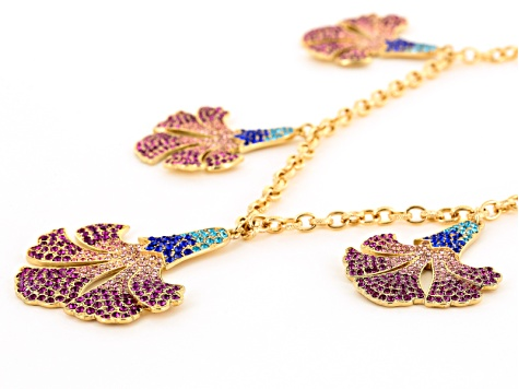 Multicolor Crystal Gold Tone Floral Statement Necklace
