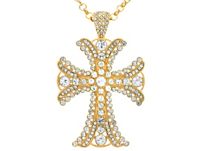 White Crystal Gold Tone Cross Necklace