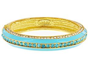 White And Blue Crystal Blue Enamel Gold Tone Hinged Bangle Bracelet