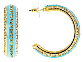 White And Blue Crystal Blue Enamel Gold Tone Earrings