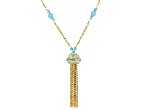 White And Blue Crystal Blue Enamel Gold Tone Tassel Necklace