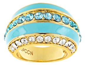 White And Blue Crystal Blue Enamel Gold Tone Ring