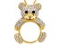 White And Black Crystal Gold Tone Teddy Bear Magnifying Glass Necklace