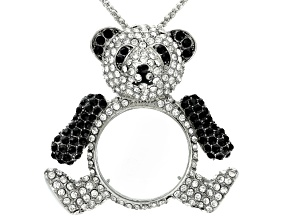 White And Black Crystal Silver Tone Panda Bear Magnifying Glass Necklace