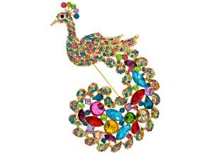 Multicolor Crystal Gold Tone Peacock Brooch