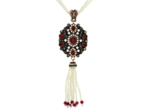 Multicolor Crystal White Bead Antiqued Rose Tone Tassel Necklace