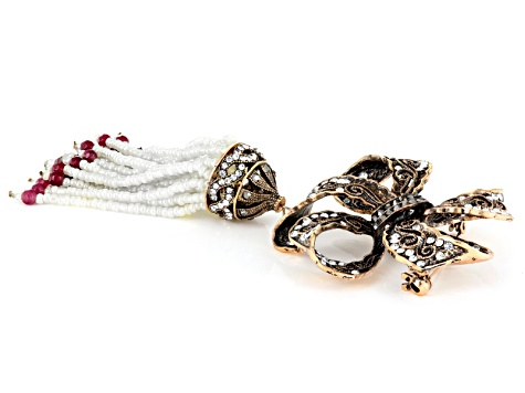 Multicolor Crystal Multicolor Bead Antiqued Rose Tone Bow Brooch