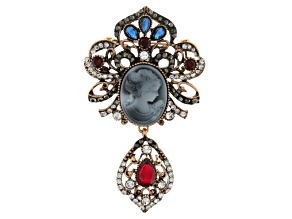 Multicolor Crystal Antiqued Rose Tone Cameo Brooch