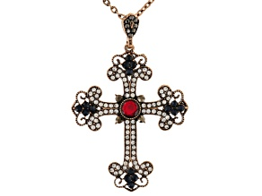 Multicolor Crystal Antiqued Rose Tone Cross Pendant With Chain