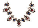 Multicolor Crystal Antiqued Rose Tone Statement Necklace