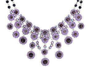Tanzanite Simulant Silver Tone Statement Necklace