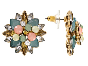 Multicolor Crystal Antiqued Gold Tone Earrings