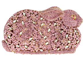Pink And White Crystal Gold Tone Bunny Clutch