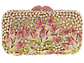 Multicolor Crystal Gold Tone Floral Clutch