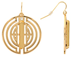 Gold Tone Geometric Dangle Earrings