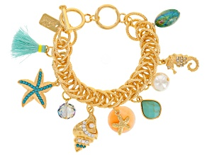 Multicolor Crystal Gold Tone Sealife Charm Bracelet