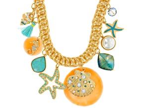 Multicolor Crystal Gold Tone Sealife Necklace