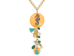 Capiz Shell Multicolor Crystal Pearl Simulant Gold Tone Sealife Necklace