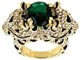 White And Green Crystal Black Enamel Gold Tone Jaguar Ring