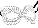 White Crystal Silver Tone Masquerade Mask