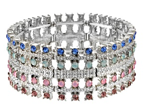 Multicolor Crystal Silver Tone Stretch Braclet