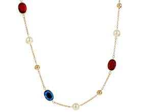 Multicolor Crystal Pearl Simulant Gold Tone Necklace