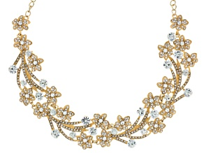 White Crystal Gold Tone Floral Statement Necklace
