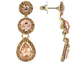 Pink Crystal Gold Tone Dangle Earrings