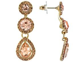 Pink Crystal Gold Tone Dangle Earrings